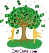 money tree symbol, finance Vector Clipart graphic