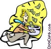 man running with money, financial windfall Vector Clipart illustration