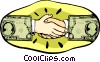 hands shaking with dollar sign hands Vector Clipart illustration