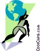 Vector Clip Art graphic  of a Figure with globe