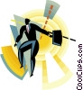 Figure with briefcase Vector Clipart illustration