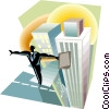 Businessman balancing on top of buildings Vector Clipart graphic