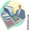 Vector Clip Art image  of a Man in front of computer