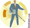 Vector Clip Art graphic  of a Man with papers