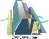 Vector Clipart picture  of a Man near office buildings