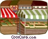 Vector Clip Art image  of a outdoor market stands