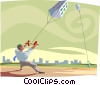 businessman with kite of a building Vector Clipart illustration