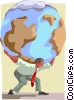 Burden of the world carried on shoulders Vector Clipart image