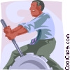 Vector Clipart image  of a man switching gears manually
