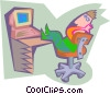 Man relaxing at computer Vector Clip Art picture