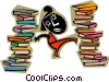 Vector Clip Art picture  of a caught up in lots of books