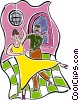 Vector Clip Art picture  of a ballroom dancing