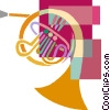 Vector Clipart illustration  of a French horn