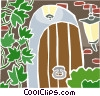 stone entryway with vines Vector Clipart image