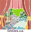 lush bedroom Vector Clip Art image
