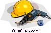 construction hard hat with drill and tape measure Vector Clip Art graphic
