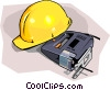 construction hard hat with electric jigsaw Vector Clip Art graphic