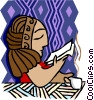 woman reading while drinking coffee Vector Clipart image