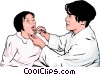 doctor examining young girls throat Vector Clipart image