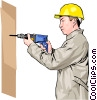 construction worker with electric drill Vector Clip Art picture