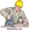 Vector Clip Art graphic  of a construction worker with
