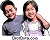 Brother and sister Vector Clipart picture