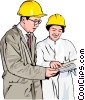 Vector Clip Art image  of a workers in hard hats discussing plans