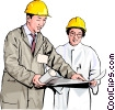 plant workers in hard hats discussing plans Vector Clip Art picture