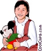 Vector Clipart graphic  of a Young girl with stuffed animal