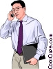 Vector Clip Art graphic  of a Businessman with a cell phone