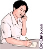 young office worker with phone and notepad Vector Clipart graphic