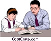 Vector Clipart graphic  of a Young girl with her teacher
