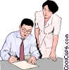 Vector Clip Art image  of a office workers reviewing