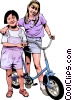 Two friends with a bicycle Vector Clipart illustration