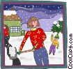 Vector Clipart picture  of a mother shoveling snow