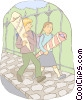 Vector Clip Art image  of a young couple walking with