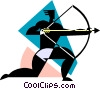 Vector Clip Art image  of an Archer with bow and arrow
