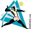 Vector Clipart illustration  of a Volleyball player serving the