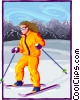 Vector Clip Art image  of a Girl skiing in the alps