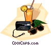 travel, cool drink with camera and sunglasses Vector Clipart image