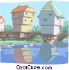 Vector Clip Art image  of a European bridge house