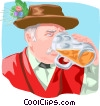 German man drinking mug of beer Vector Clipart picture