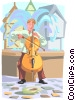 Musician in European Plaza Vector Clipart illustration