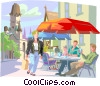 Vector Clipart graphic  of a Shopper near cafe in European