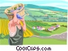 Vector Clipart picture  of a Worker in European Vineyard