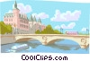 Vector Clipart illustration  of a Bridge in European canal