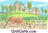 Oxen plowing the fields outside European castle Vector Clipart graphic