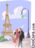 Lovers near Eiffel tower Vector Clipart picture