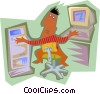 Vector Clip Art graphic  of a Man working at computer