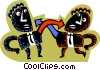 Vector Clip Art image  of a Figures pointing at each other